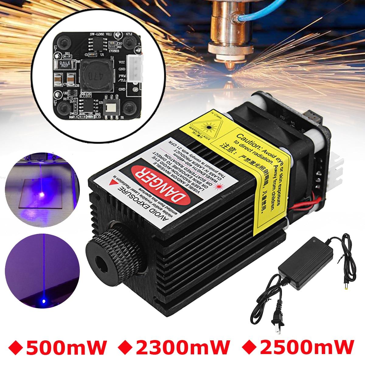500/2300/2500 mW 445NM Módulo Laser Azul EleksMaker 2.54-3 P TTL/Modulação PWM Para DIY Gravador Do Laser