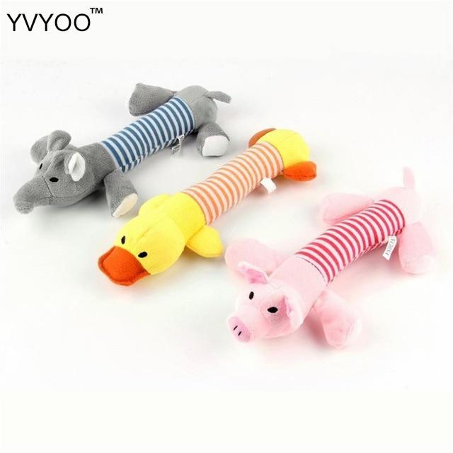 YVYOO Dog oyuncaq peluş it oyuncaq heyvanı çeynəmək oyuncaq səs siqqəti ördək doldurulmuş donuz və sevimli fil 1PCS D99