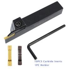1 pçs mgehr1010 mgehr1212 titular e 10 peças inserções mgmn150 mgmn200 lâminas de carboneto externo sulco cnc conjunto de ferramentas de torneamento externo