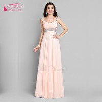 vestidos de fiesta A Line Chiffon Cap Sleeves Peach Pink Prom Dresses 2017 Floor Length Sequins Formal Evening Dress ed20062