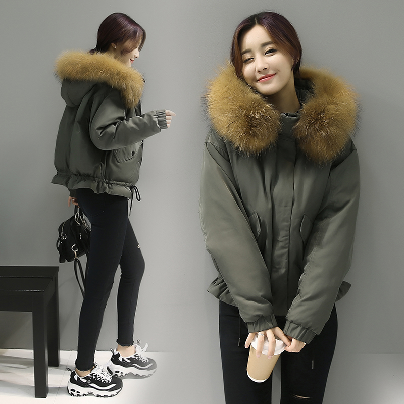 RR Winter Coats Fur Parkas Ladies Winter Down Coats with hoods Fur Collar  Bomber Jackets Raccoon Parkas Army Green Winter Coats