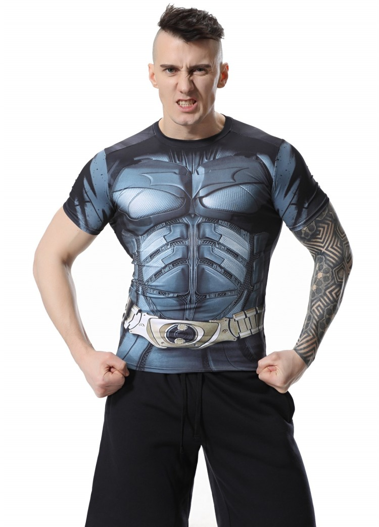 Red Plume Mens Compression T-Shirt , Movie Theme hero Batman Sports Exercise Fitness T-shirt