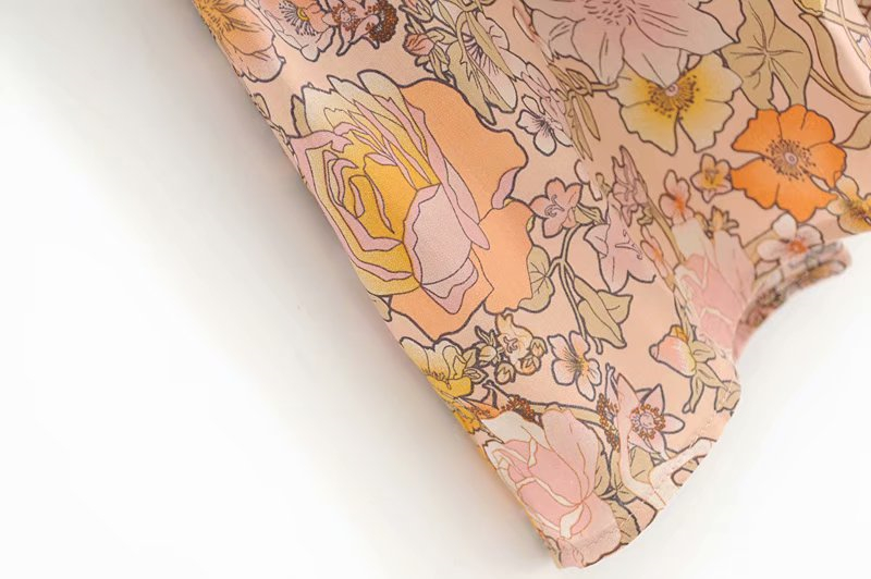 V-Neck Sasches Ruffles Floral Print Boho Dress 11