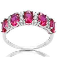 PJC Bella Luce 6 4mm 3 23cts Oval Shape Ruby Cubic Zirconia With 0 35ct White