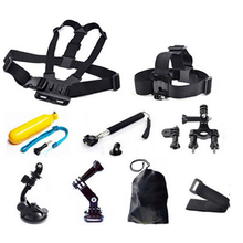 Sports Camcorder Accessories Sets monopod chest belt head strap monopod mount kits for gopro SJCAM XIAOYI action cameras