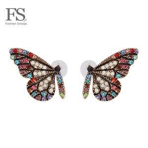FASHIONSNOOPS luksusowe wisiorek z motylem oświadczenie stadniny kolczyki dla kobiet Trendy Wedding Party czeski biżuteria hurtowych Bijoux