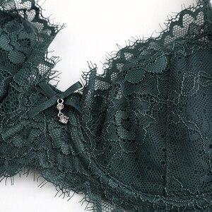 Image 5 - طقم ملابس داخلية من الدانتيل باللون الأخضر مع حمالات صدر مطرزة رقيقة للغاية ، ملابس داخلية مثيرة من الدانتيل للنساء ، طقم حمالة صدر مقاس كبير