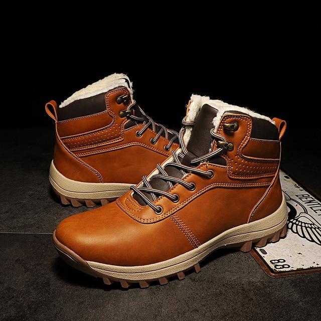 39-45 الشتاء الأحذية الرجال أفخم الدافئة الشتاء أحذية الرجال عالية الجودة 2018 الرجال الأحذية البني الأسود