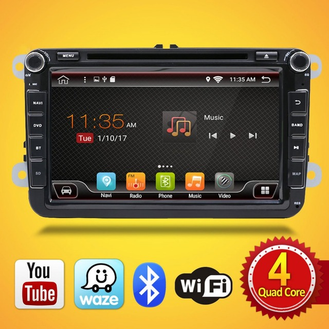 Android 7.1 for GOLF 5 Golf 6 POLO PASSAT CC JETTA TIGUAN TOURAN EOS 2 din 8 inch 1024*600 Wifi Radio Car dvd player GPS navigat
