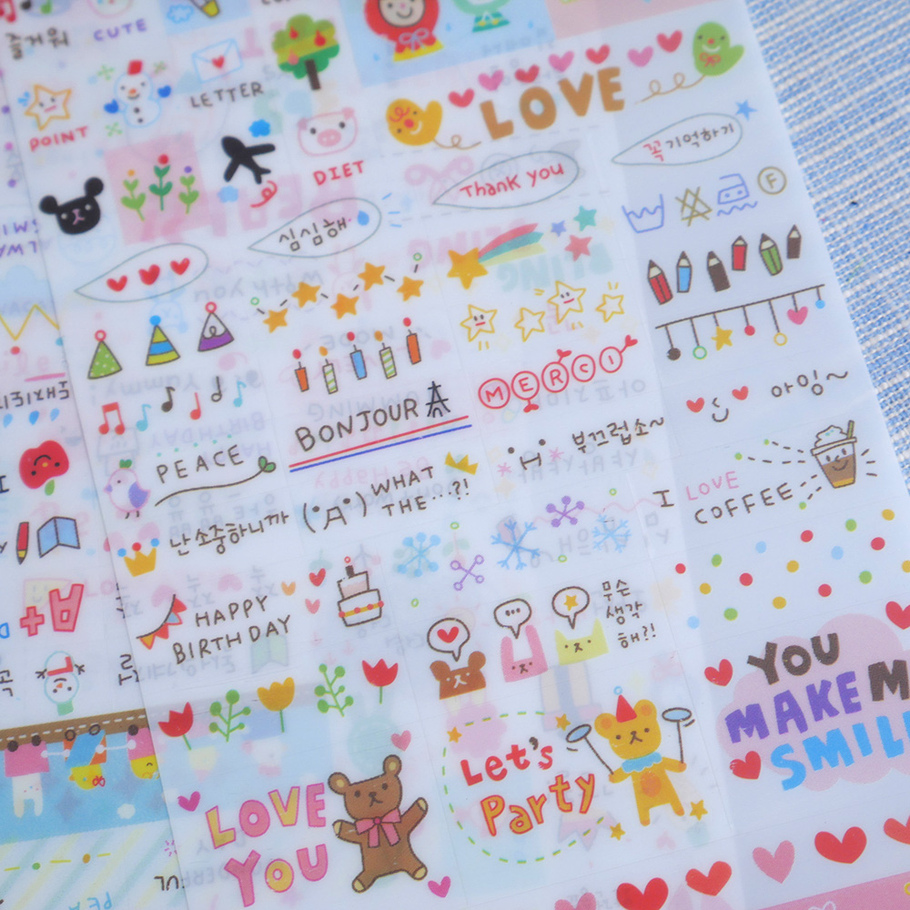 6 Sheet Stickers Cute Korea Pvc Word Expression Diary For Scrapbooking Diy Diary Calendar Notebook Label Stationery Set