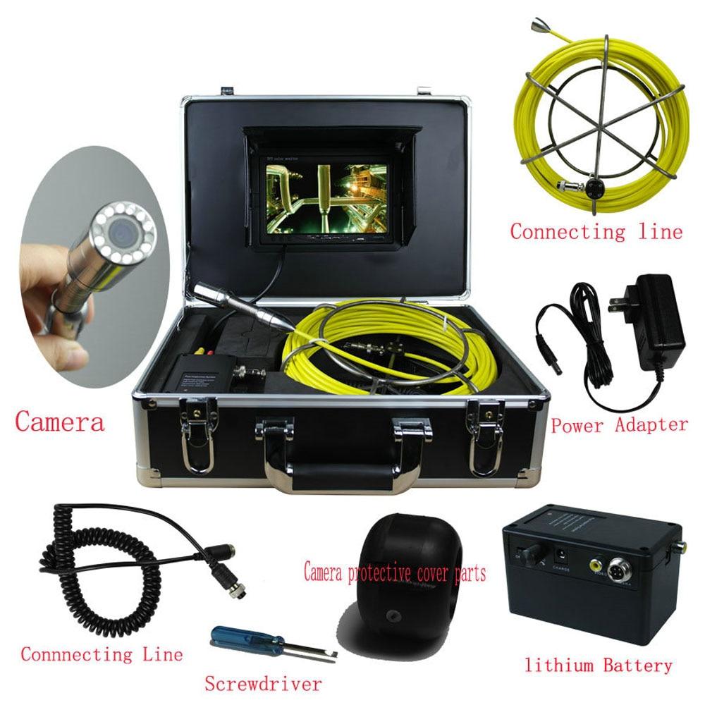 20 m Égouts Caméra Étanche de Tuyaux de Pipeline de Vidange Système D'inspection 7 LCD DVR 1200TVL Caméra avec 12 LED Lumières 4 gb SD Carte