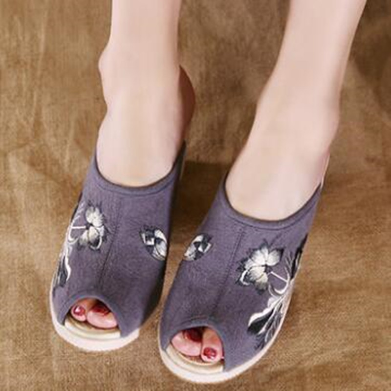 Ladies Canvas Open Toe Wedges Slipper Slides Summer Casual Holiday Sandals Floral Embroider Vintage Pumps Flax Insole Shoe 1