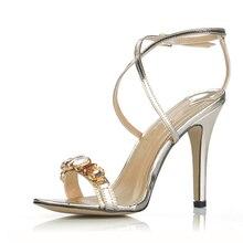 Sexy und elegante kristall schmale bands einfache design schaffell sandalen silber licht gold high heel frau schuhe party hochzeit