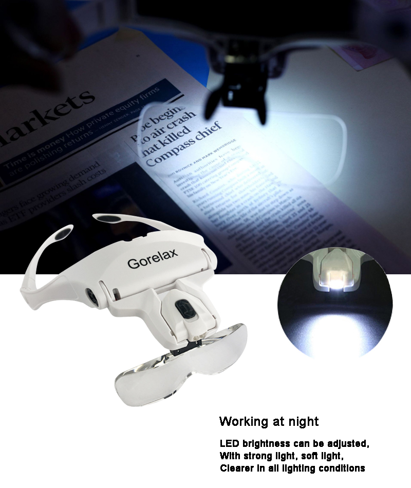 HTB1Ny3EblWD3KVjSZFsq6AqkpXah Glasses Magnifier Glass, 5 Lens Loupe Eyewear Magnifier With Led Lights Lamp,Headband Led Magnifying Glass For Reading, Looking