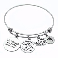 Inspiration Stainless Steel Adjustbable Wire Bangle I Love Yoga OM Jewelry DIY Charms Bracelets pupa urban inspiration flowery i set