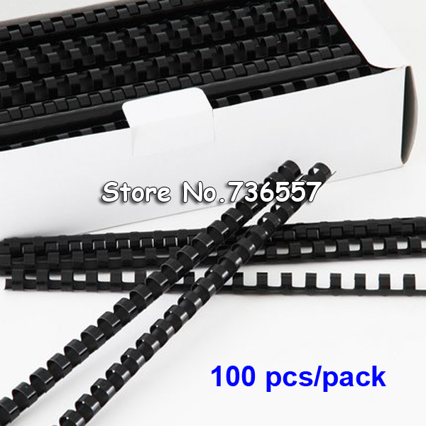 100PCS/BOX PVC Binding Aprons 21 Rings 6-16mm Binding 20-120 Sheets A4 File Comb Binding Machine Plastic Rings Black Color