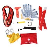 10 UNIDS Coche Bolsa de Kits de Herramientas Suministros de Automóviles En Carretera Kit de Emergencia Linterna de Avería Del Coche Equipo de Seguridad Equipo de Supervivencia Del Coche-styling