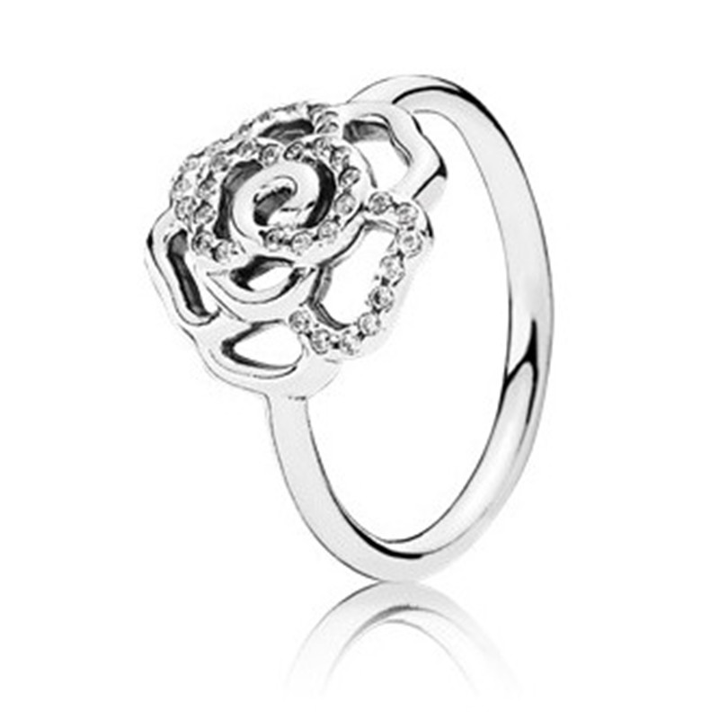 Trendy 100 Real 925 Sterling Silver Delicate Rose Flower Ring For Women Wedding Party Gift Fine Europe Jewelry Original in Wedding Bands from Jewelry Accessories