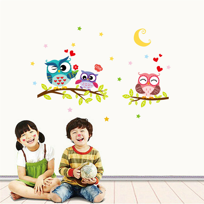 Wallpaper Sticker Happy Removable Waterproof Cartoon Animal Owl Wall Sticker Kids Home Decor Wallpapers For Living Room B#