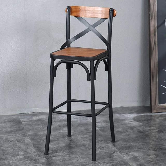 Haut Fer Tabouret Moderne Bureau Mode Simple Style Chaises Rétro Bar Européen Bois Louis L35RAj4
