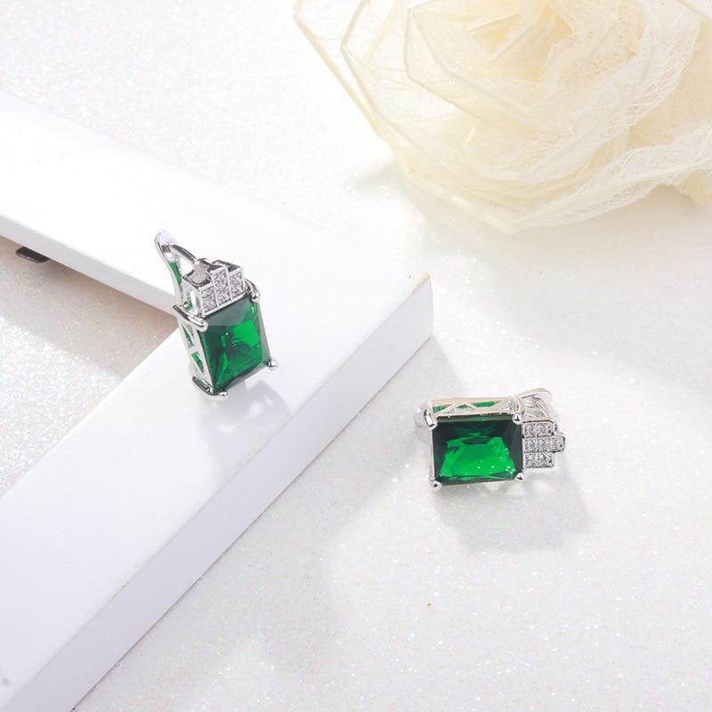 Romad Women Elegant Drop Earrings Green Stone Alloy Crystal Inlaid Lady Girl Rhinestones Earrings Fashion Jewelry Z3 in Drop Earrings from Jewelry Accessories