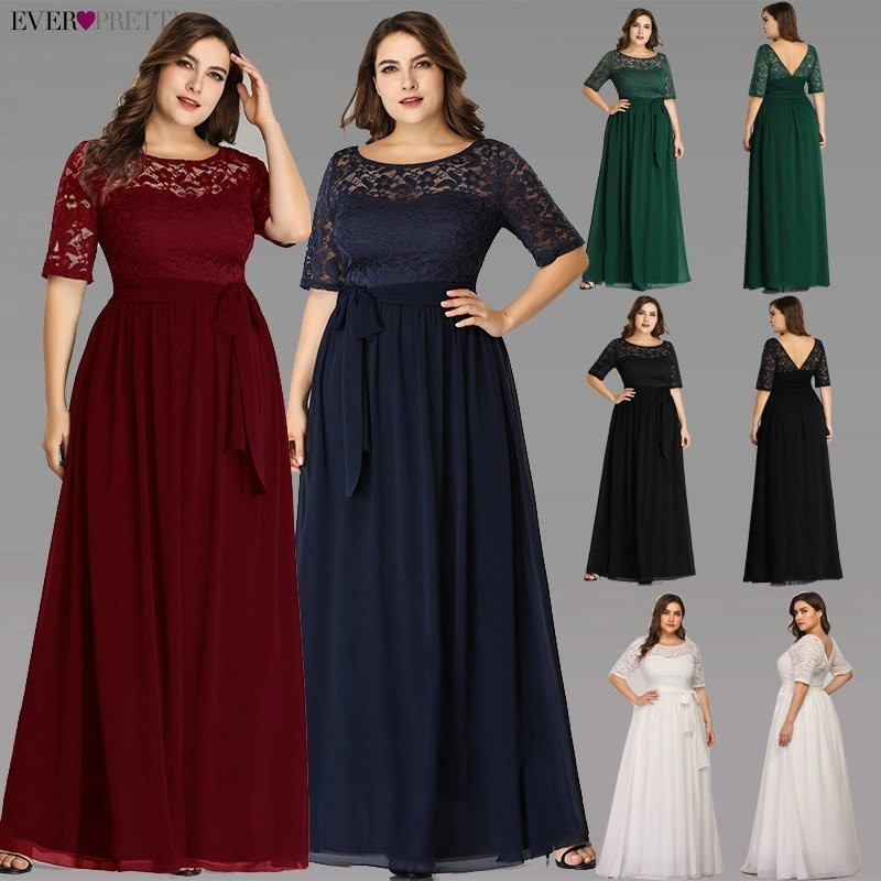 Plus Size Mother Of The Bride Dresses Ever Pretty EZ07624NB Elegant A Line Long Lace Formal Evening Gowns Robe De Soiree 2019(China)