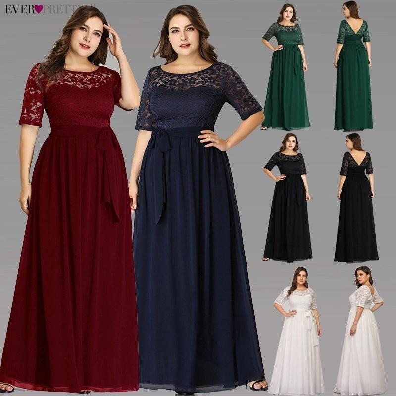 Plus Size Mother Of The Bride Dresses Ever Pretty EZ07624NB Elegant A Line Long Lace Formal Evening Gowns Robe De Soiree 2020