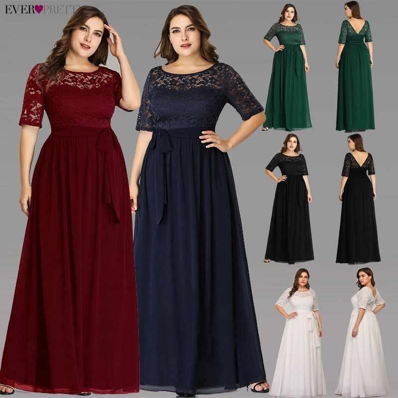 Plus rozmiar sukienki dla matki panny młodej kiedykolwiek dość EZ07624NB elegancka linia długa koronka formalne suknie wieczorowe Robe De Soiree 2019