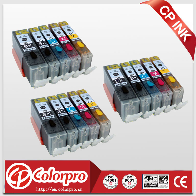 Wholesale 15PK PGI520 CLI521 Edible <font><b>Ink</b></font> <font><b>Cartridge</b></font> for <font><b>Canon</b></font> pixma IP3600 IP4600 IP4700 MP540 MP550 MP560 MP620 <font><b>MP630</b></font> MP640 MP980 image