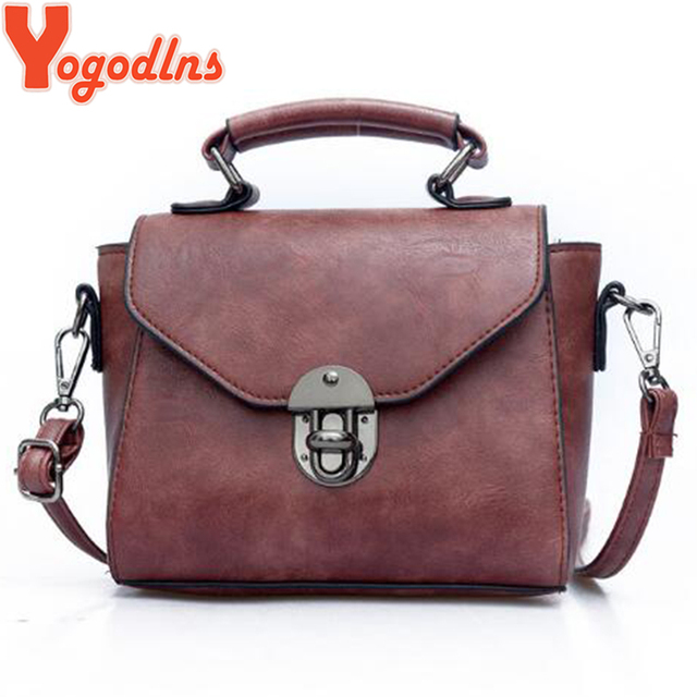 Yogodlns Vintage Leather Female Top-handle Bags Small Women Shoulder Bag Crossbody Messenger Bag Casual Handbags