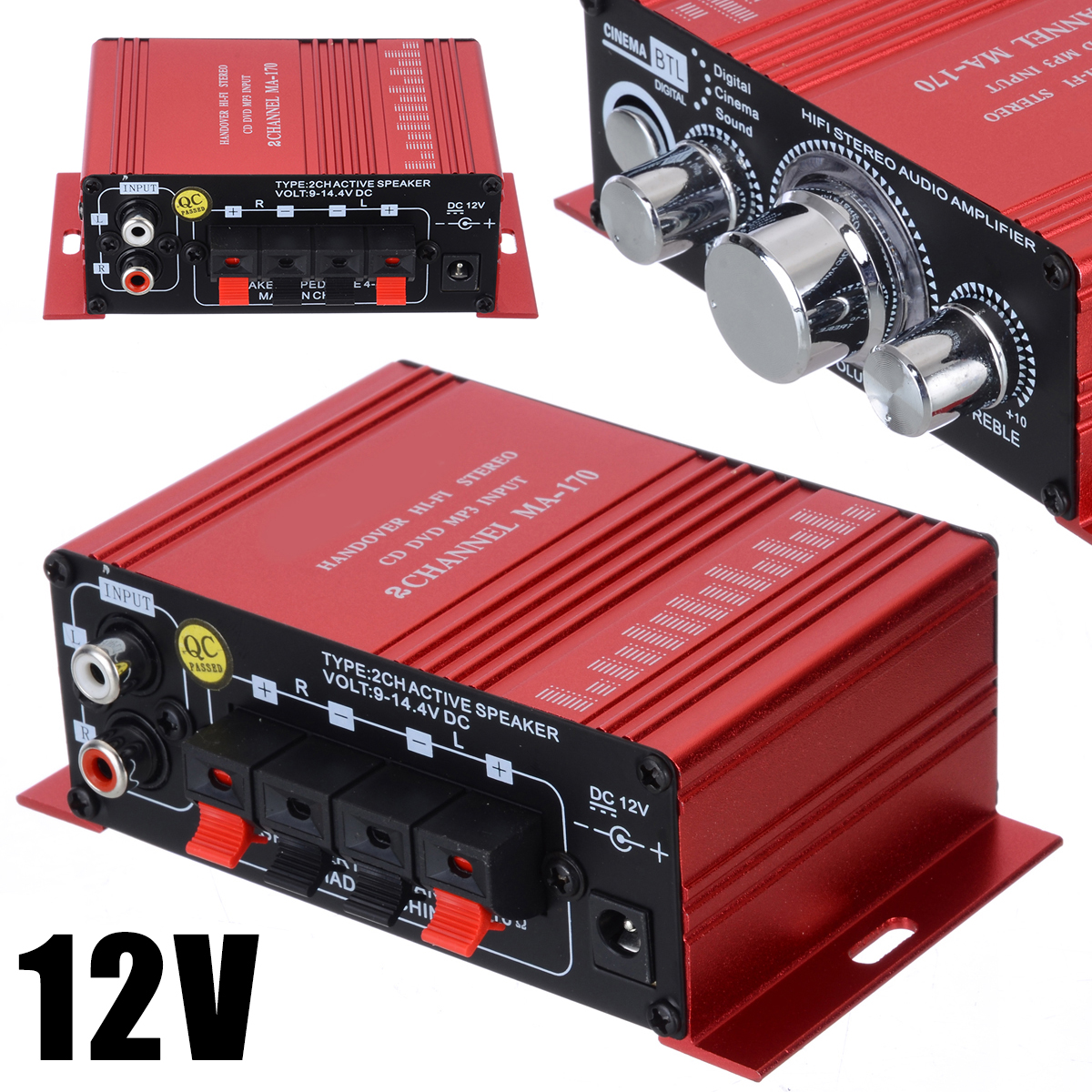 New Red Stereo HiFi Amplifier Aluminium 2 Channel AMP 20Hz To 20KHz Amplifiers For Computer Desktop Speaker MA-170