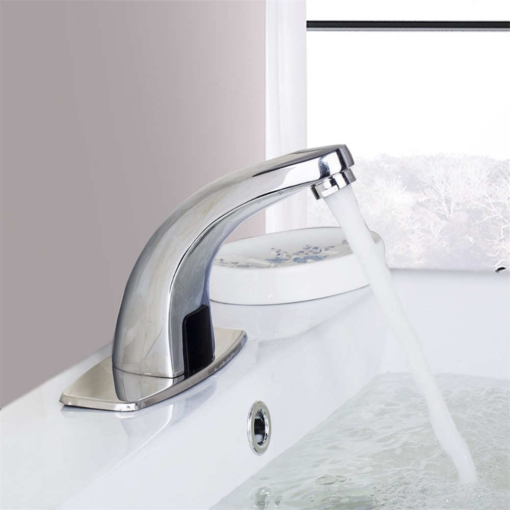 Polished Chrome Waterfall Bathroom Sense Water Taps Brass Automatic Basin Sensor Faucets Hand Washer 100% copper cold and hot water mixer sense faucet automatic sensor faucets basin hand washer dc6v ac110 220v dona4215