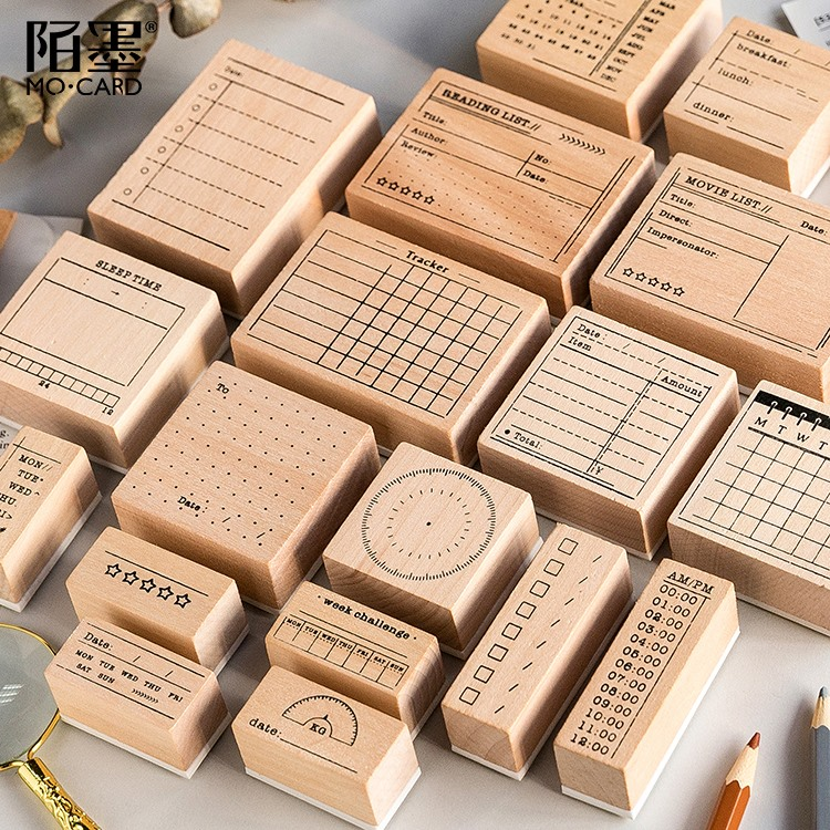 JIANWU Wooden Rubber Stamps Bullet Journal Supplies Stamps for Scrapbooking Planning efficiency seal