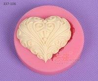 Силиконовые пирог мыло ручной работы плесень шоколадная форма 337-106 _ в форме сердца semi-3d Cheung муар