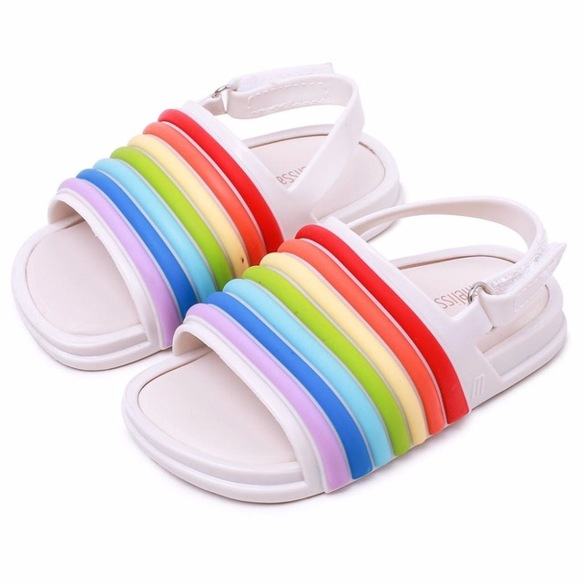 ... Melissa 2018 new Girls Sandals Jelly Shoes Baby Boys Girls Sandals  Rainbow Striped Anti-Skid Beach Sandals Shoes. Previous. Next 557dbc7b6b4a