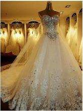 free shipping 2014 crystal feather dress China Luxurious Shining Rhinestone Train real princess tulle Wedding Dress