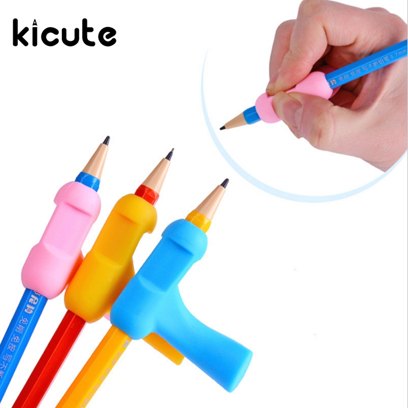 Kicute 5pcs/lot Pencil Grips Occupational Therapy Handwriting Aid School Statioery Pen Control Right Silicone Students Writing