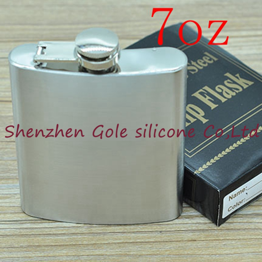 500pcs 7oz Stainless Steel Pocket Flask Russian Hip Flask Male Small Portable Mini Shot Bottles Whiskey Jug Small Gifts For Man