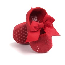 0~18month red Pretty  butterfly knot cotton fabric princess Boys Girls Shoes Soft Bottom Shoesb Toddler Shoes Baby Shoes bx292