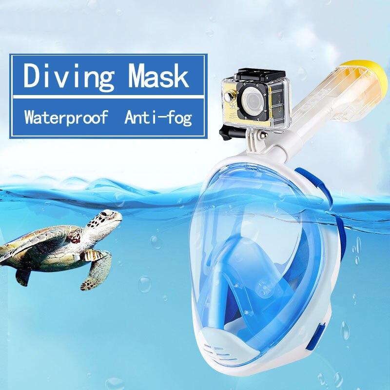 2019 nouveau masque de plongée GoPro caméra tuba sous-marine natation Anti-buée vue panoramique masque de plongée en apnée