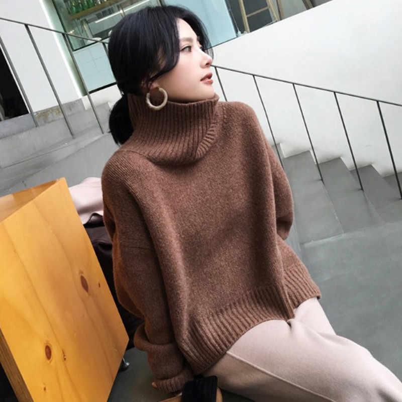 Bareskiy 캐시미어 스웨터 여성 높은 칼라 느슨한 풀오버 스웨터 단색 짧은 단락 캐주얼 스트레치 자켓 스웨터