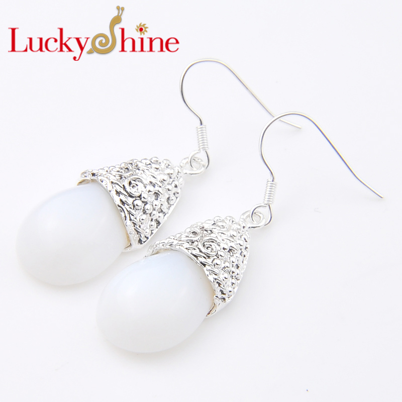Promotion Luckyshine Antqiue Fire White Created Opal Silver Pated Holiday Wedding Drop Earrings Russia USA Australia Earrings