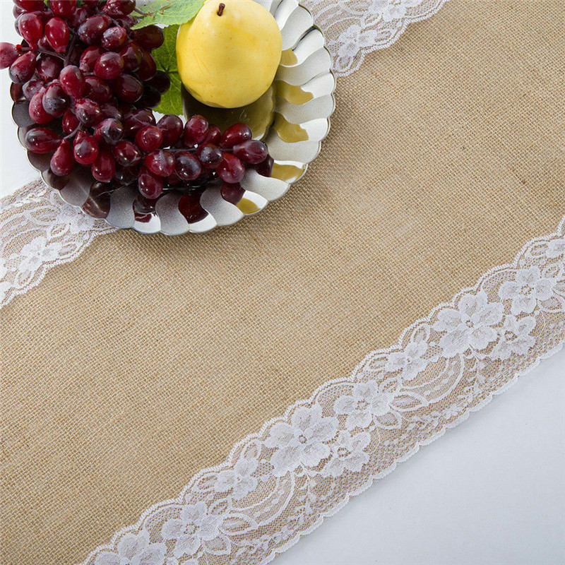 Hot Home Family Rustic Jute Hessian Burlap Lace Patchwork Table Runner Home Wedding Party Table Decoration