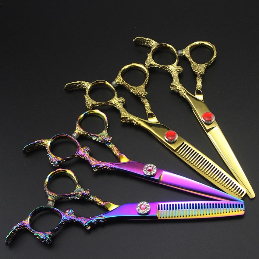 Professional 6 inch japan 440c Dragon handle hair scissors Cutting shears thinning sissors barber hairdressing tools scissors