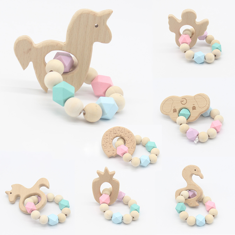New Sale Baby Bracelets Wooden Teether Crochet Chew Beads Teething Wood Rattles Toys Teether Montessori Bracelets For Baby