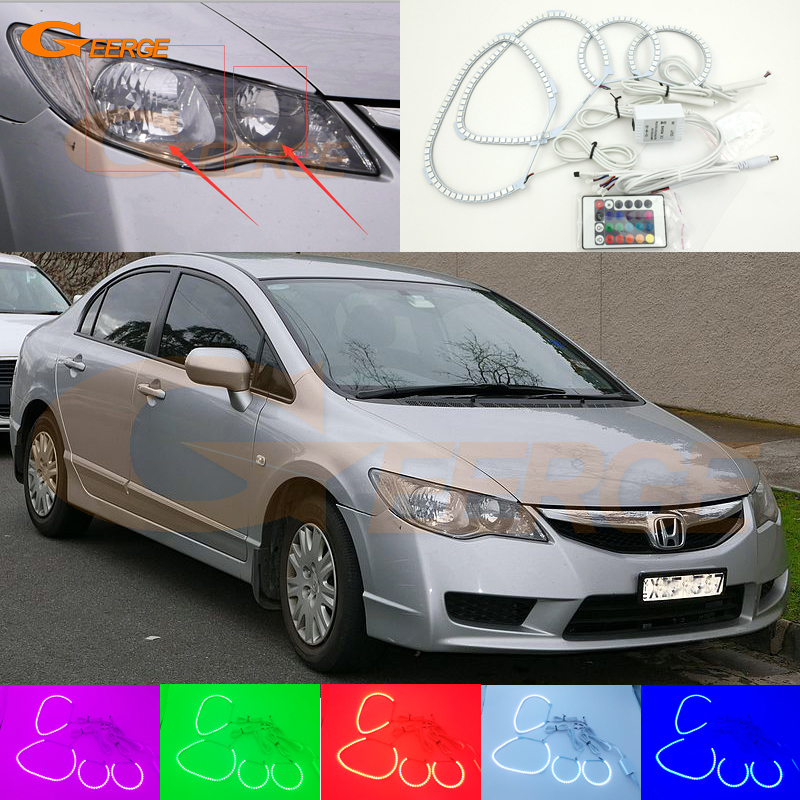 For Honda Civic FD 2006 2007 2008 2009 2010 Excellent Angel Eyes Multi-Color Ultra bright RGB LED Angel Eyes kit Halo Rings for honda cr v crv 2007 2008 2009 2010 2011 projector headlights excellent ultra bright smd led angel eyes halo ring kit