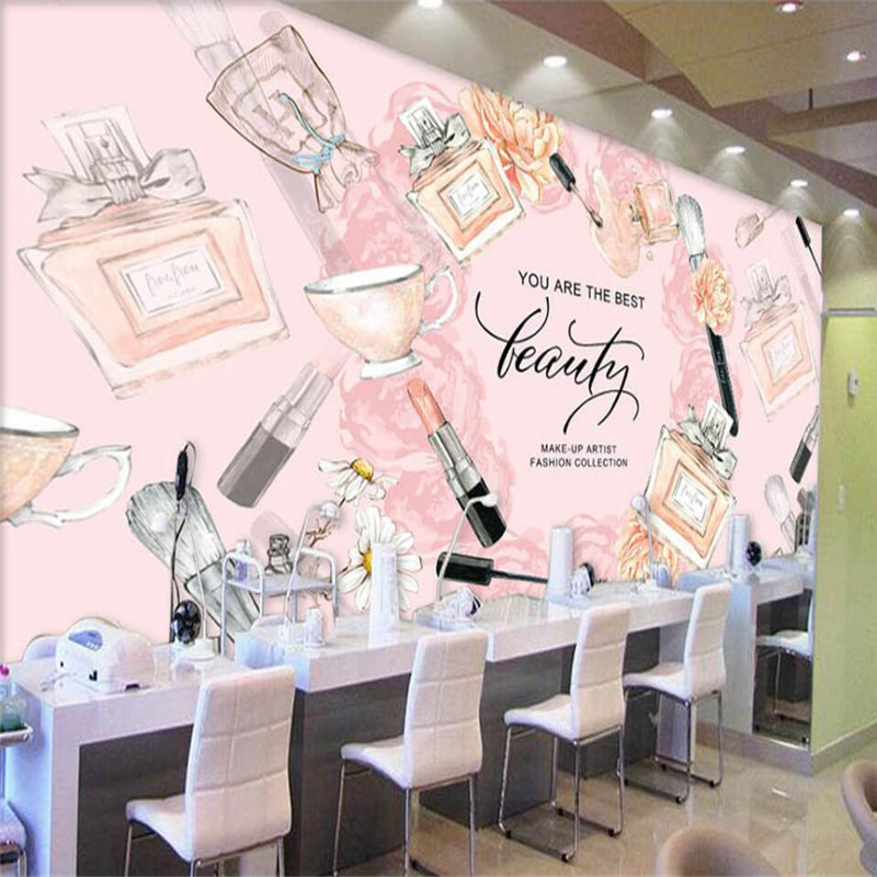 Beibehang Europe And The United States Hand-painted Cosmetics Make-up Shop Backdrop Custom Large Mural Green Silk Wallpaper