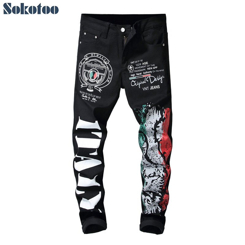 Sokotoo Men's Letters Colored Drawing Pattern Printed Jeans Fashion Black Stretch Cotton Slim Fit Pants