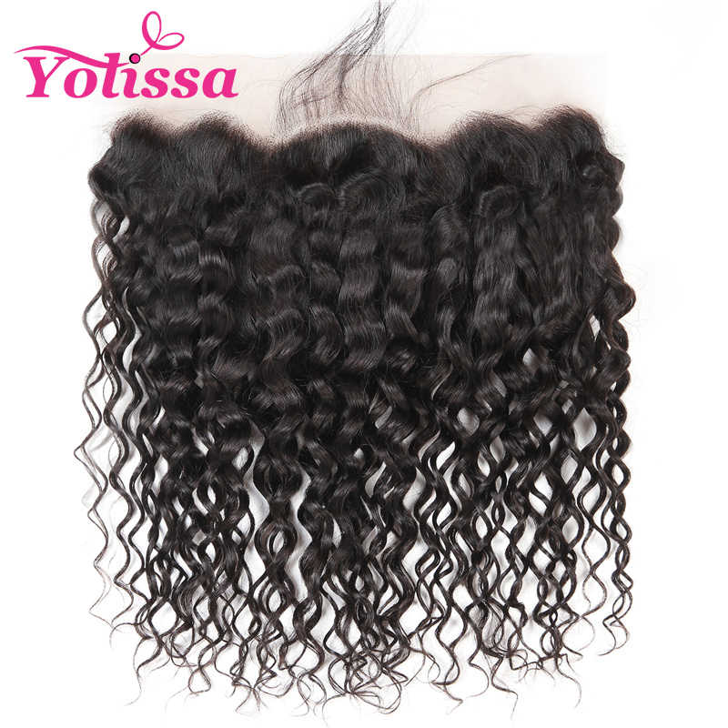 "Yolissa Hair 13""*4"" Ear To Lace Frontal Closure With Baby Hair Brazilian Water Wave 8-20 inch Remy Hair free shipping"
