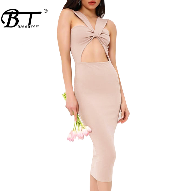 2018 Nu Lady Beateen Celebrity Robe Halter Club Bandage Moulante Sangle Out Cut Sexy Dos Pink Apricot Party Spaghetti gqd7AqZ